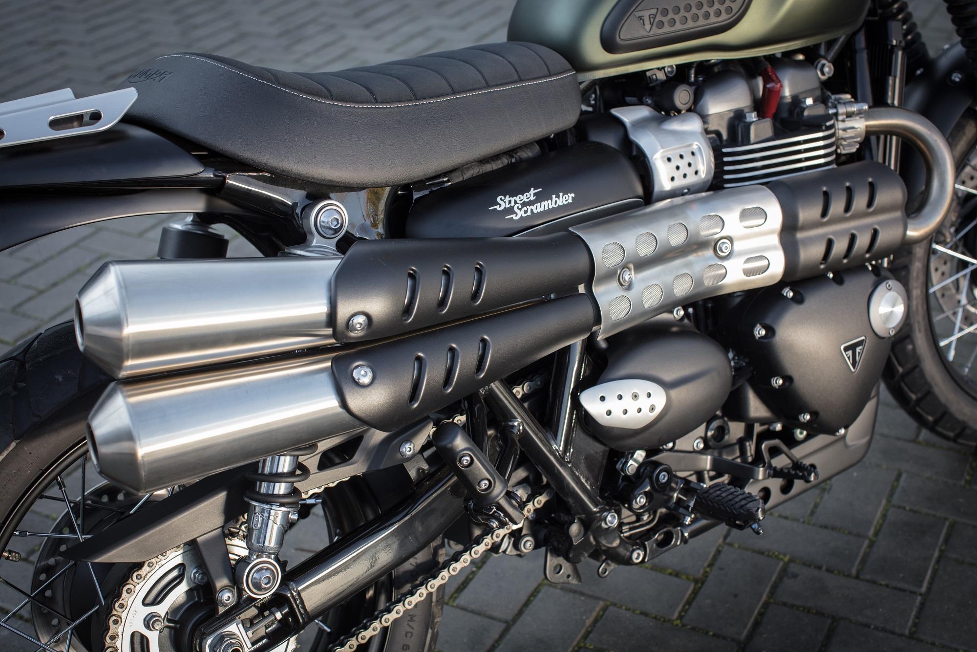 Triumph Street Scrambler engine and exhausts