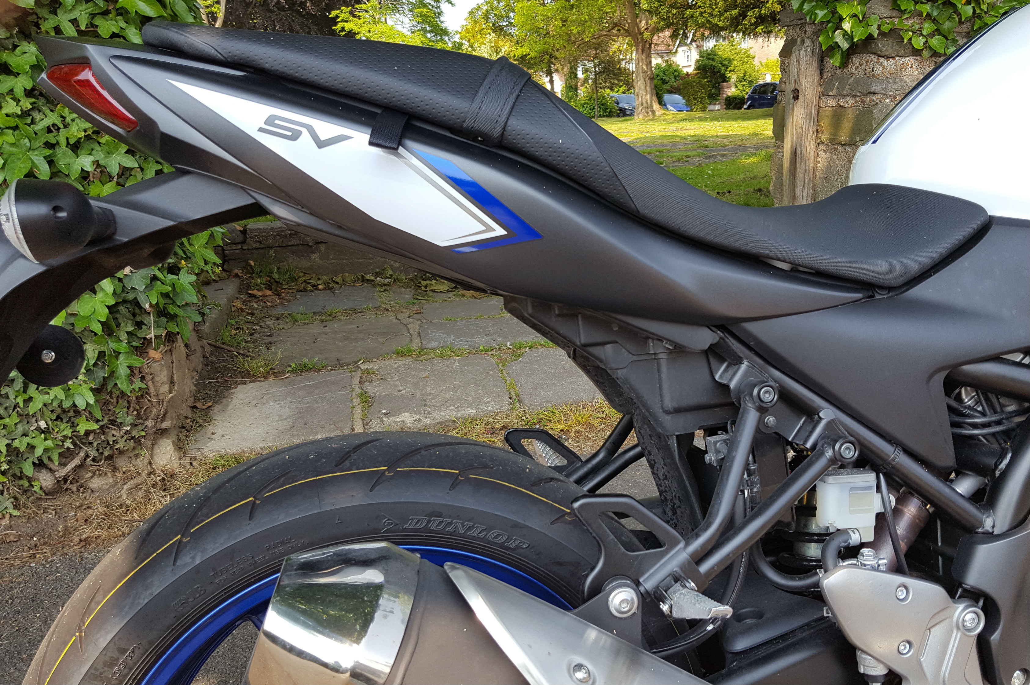Suzuki Sv650 Long Term Review Visordown Moded Bikes The Old Sv Has A Much Bigger Space Under Pillion Seat With Two Hooks For Locking Helmets To New One Nowhere Secure Helmet