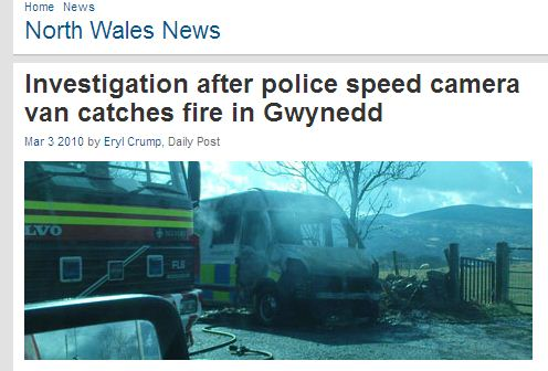 North Wales Speed camera van goes up in flames