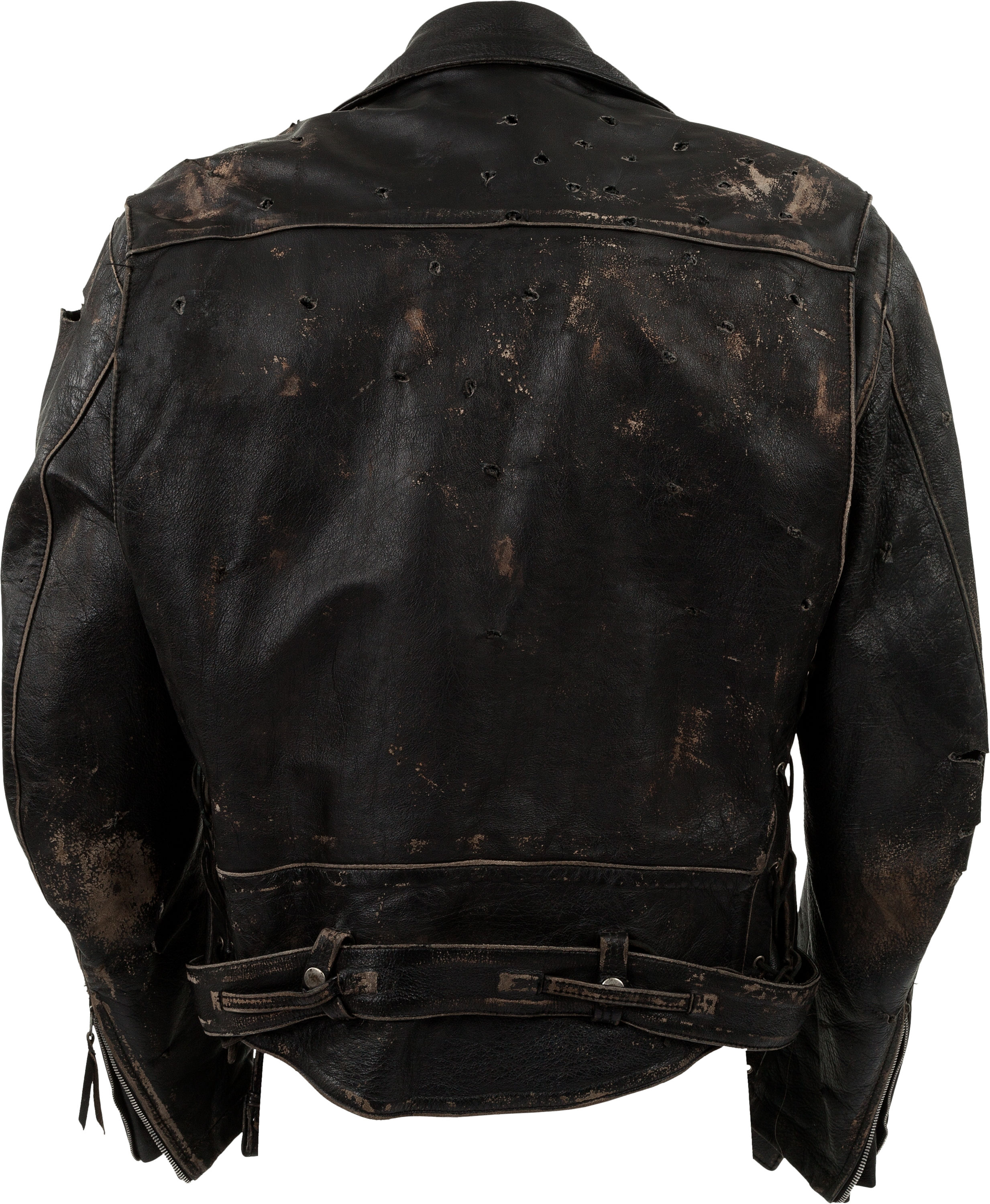 Leather jacket damage -  Leather Biker Jacket In Every Scene Of The Film There Would Have Been Numerous Versions Of It For Him To Wear During Production Especially Because It