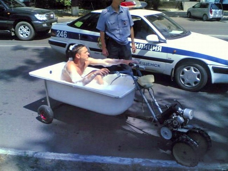 Caption that: New meaning to the term 'riding dirty'