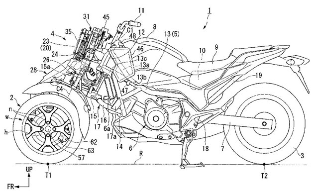 Honda files patents for leaning three-wheeled motorcycle