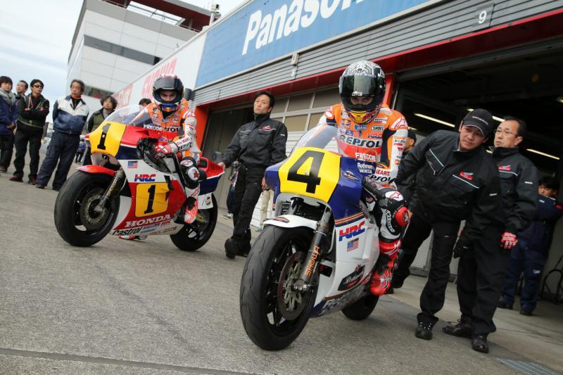Marquez and Pedrosa ride NSR500s