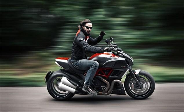 Keanu Reeves on the Ducati Diavel