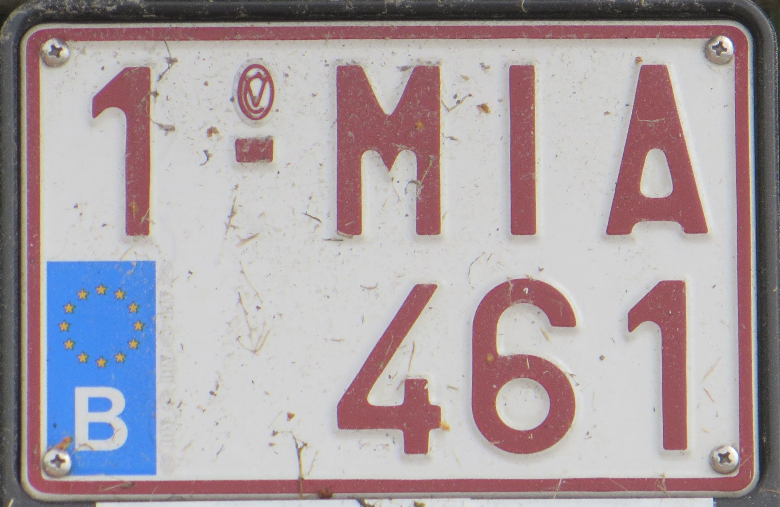 Belgian motorcycle registration plate