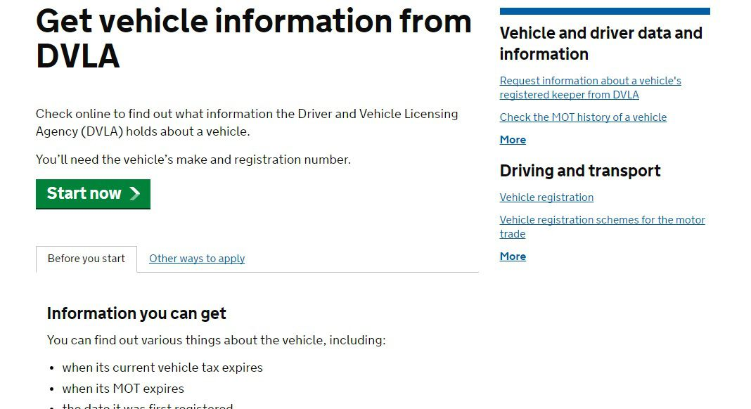 DVLA vehicle check