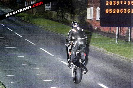 No numberplate wheelie biker nicked by GATSO