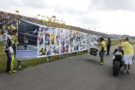valentino rossi 100 victory poster celebration Visordown Motorcycle News