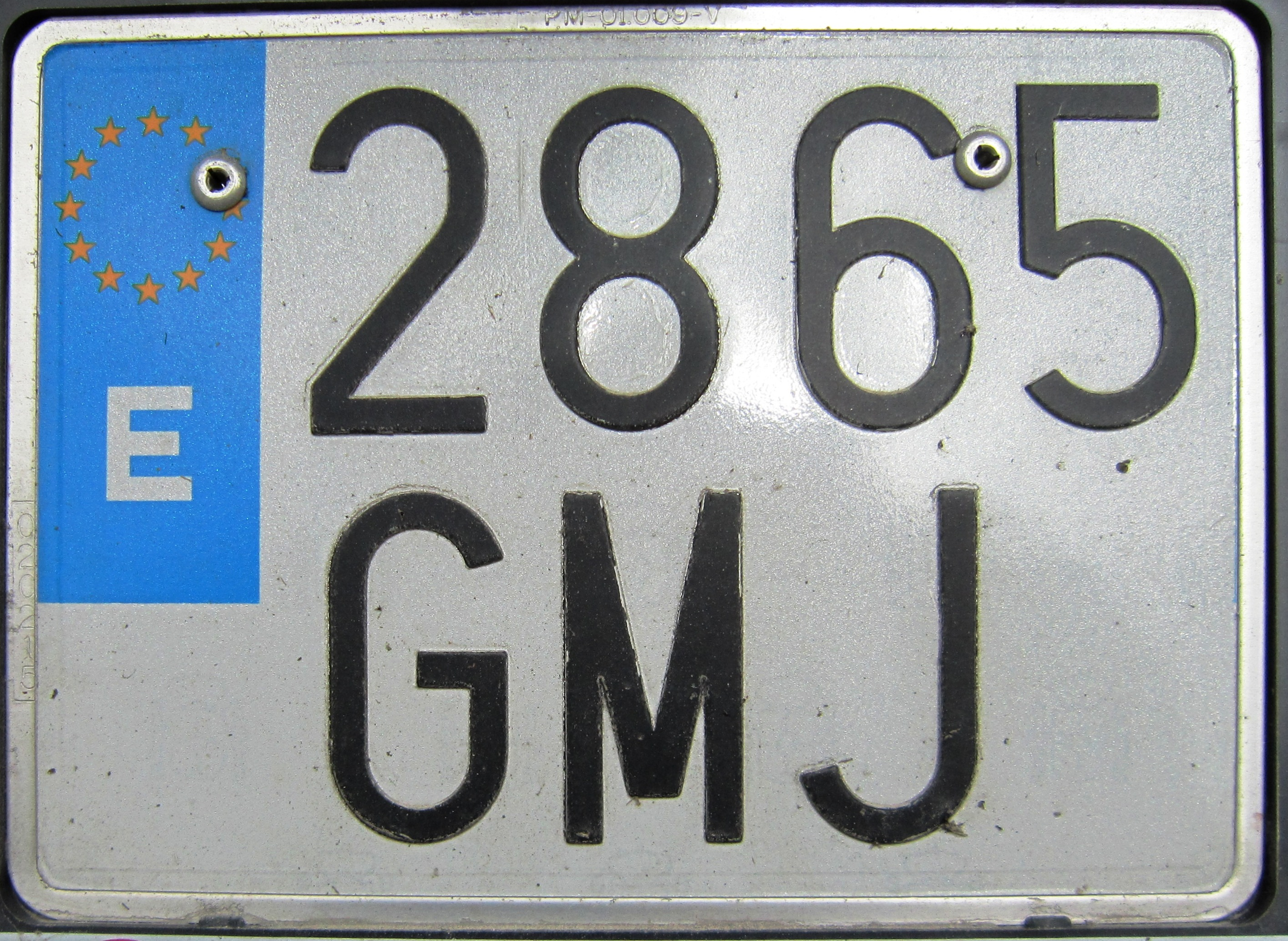 Spanish motorcycle plate