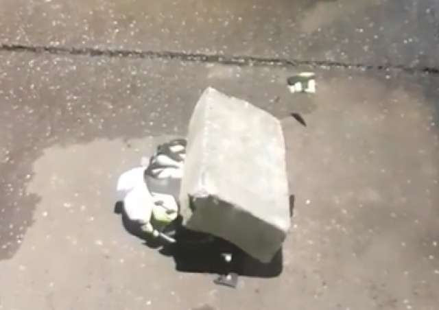 WATCH: Crash helmet gets crushed far too easily