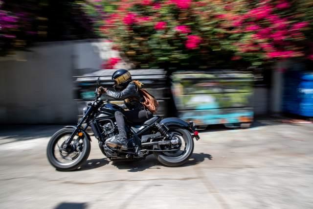Honda CMX Rebel 1100 riding in an urban environment