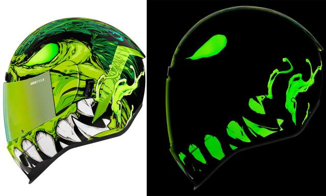 Icon Motosports Manic R Green Glow Helmet
