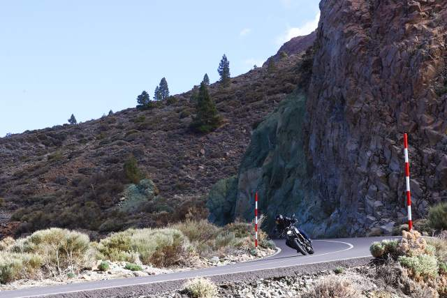 Triumph Trident on a mountain road