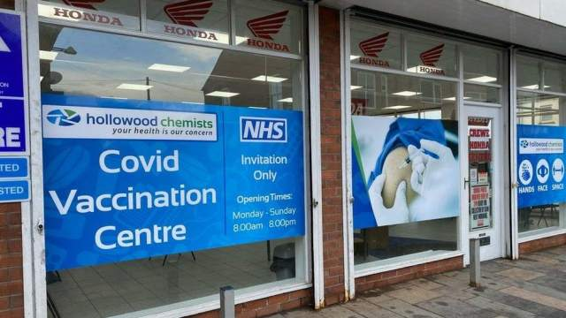 Crewe Honda Centre for NHS Vaccine - Robert Morris BBC