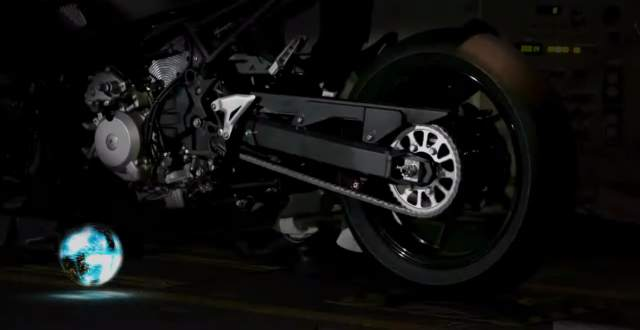 hybrid motorcycle running on a dyno