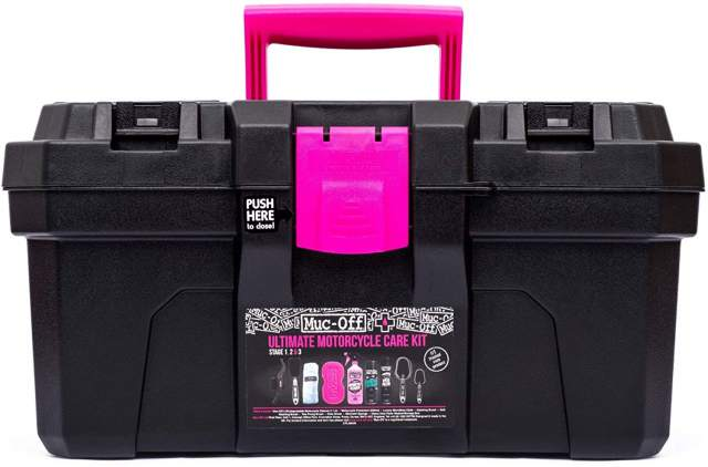 MUC-off motorcycle cleaning kit.
