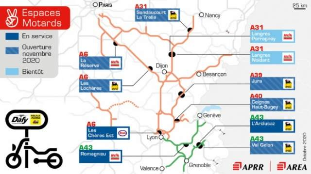 Motorcycle spaces french motorway network