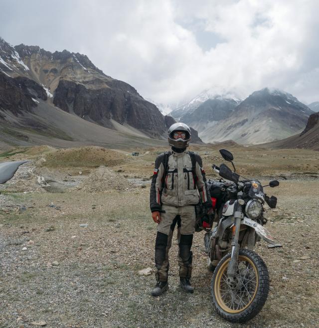 Mountains Nepal and Ducati Scrambler