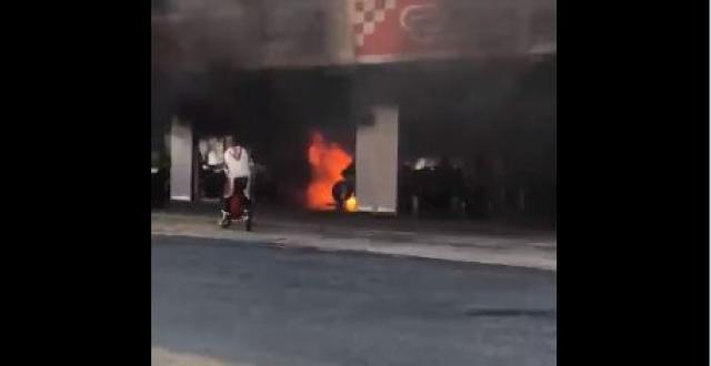 Motorcycles ablaze in Circuit de Barcelona-Catalunya pit garage