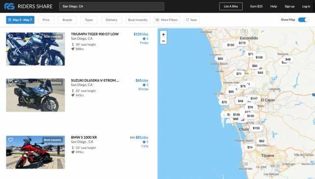 Riders Share San Diego motorcycle rental