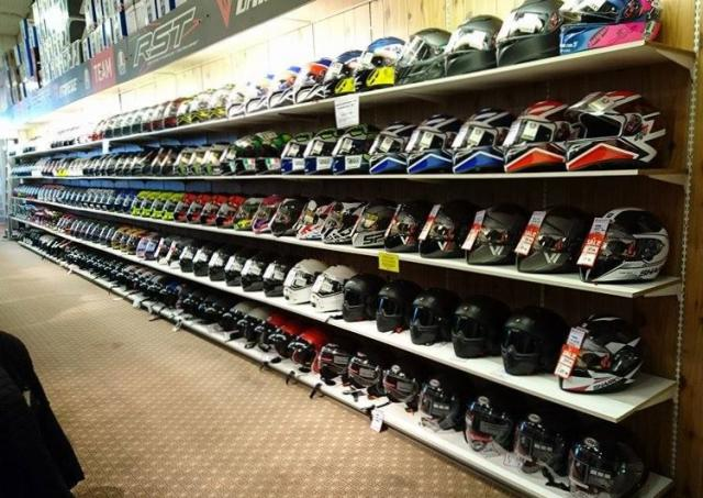 Helmets on shelves