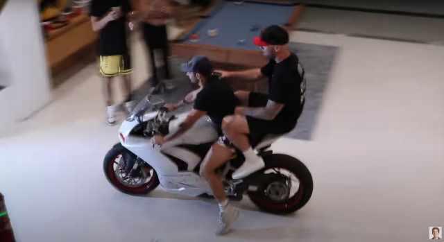 David Dobrik house party Ducati Panigale