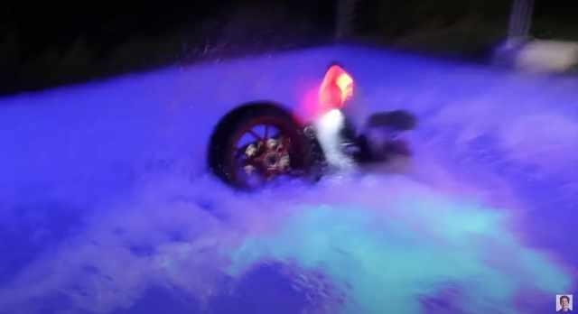 Ducati Panigale in the Dobrik swimming pool