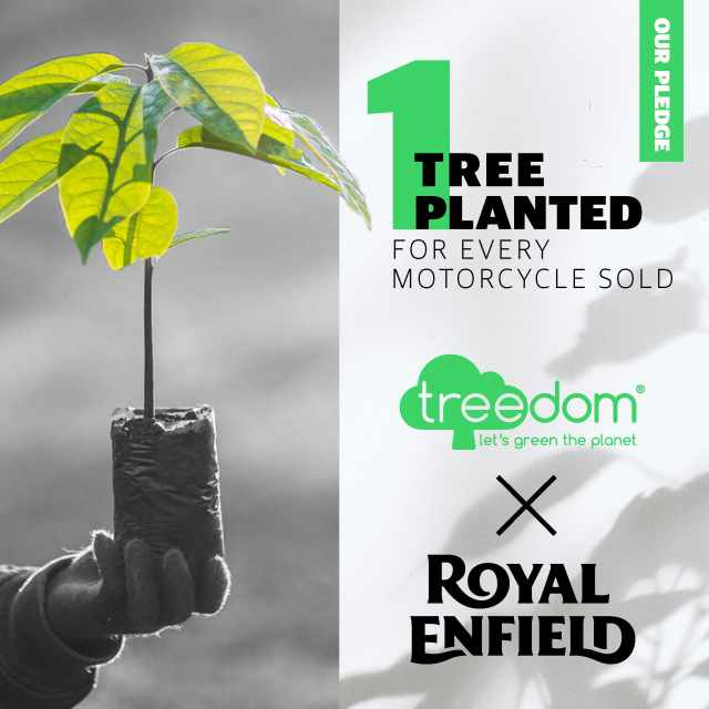 Royal Enfield and Treedom planting trees