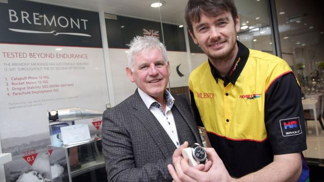 Conor Cummins with Neil Dunwell from Dunwell Jewellers, Manx Bremot dealer