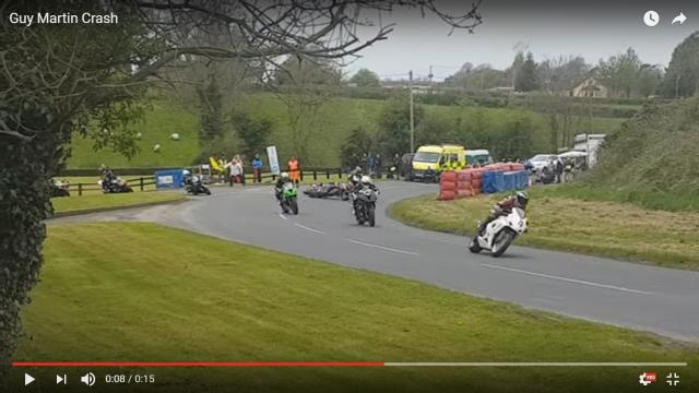 Video: Guy Martin's crash on road racing return