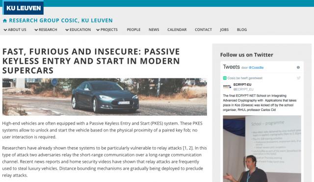 KU Leuven hacking keyless ignition