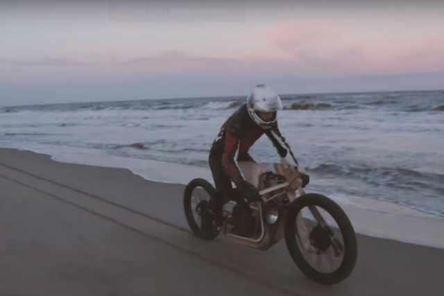 Wooden algae-powered motorcycle