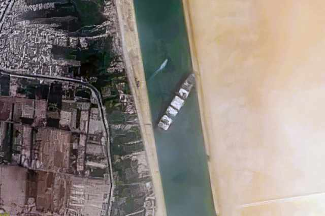 By Contains modified Copernicus Sentinel data [2021], processed by Pierre Markuse - Container Ship 'Ever Given' stuck in the Suez Canal, Egypt - March 24th, 2021, CC BY 2.0,