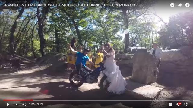 Watch: groom crashes motorcycle into bride at wedding
