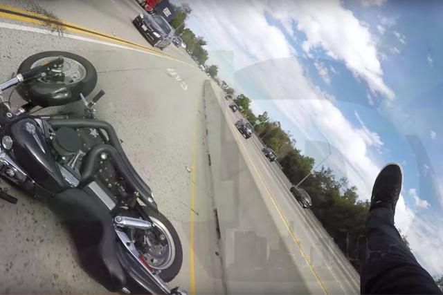 Rider hit roof of car