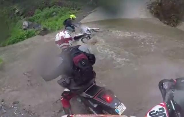 Enduro rider has lucky escape from raging river