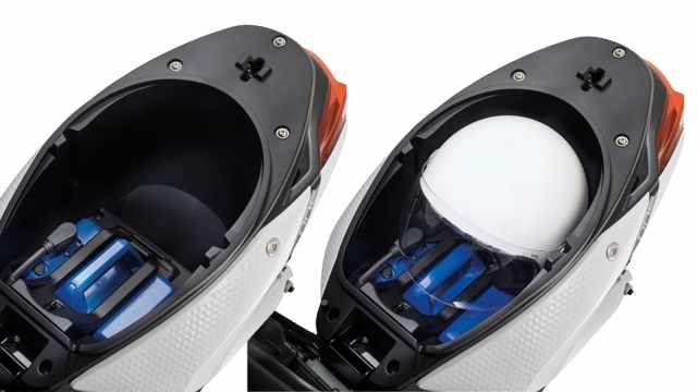 piaggio one underseat battery storage