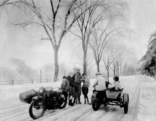 Indian Motorcycle sidecar in snow