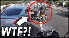 funny motorcycle video Angry driver hits motorcyclist with car door in road rage