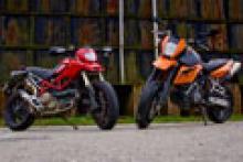 Road test: 2008 KTM 950SM vs. Ducati Hypermotard