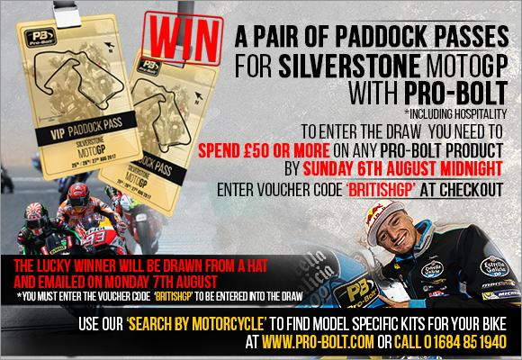 Promotion: win a pair of paddock passes for Silverstone MotoGP with Pro-Bolt