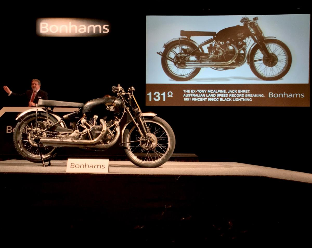 Speed record setting motorcycle sells for almost $1million at auction