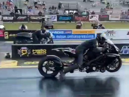 This is probably the best drag-bike take off you've ever seen!
