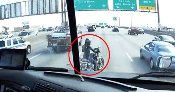 Motorcyclist breaks down in the worst place possible