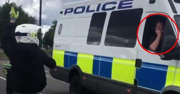 Police officer faces investigation for giving wheelie-pulling 'thug' the middle finger