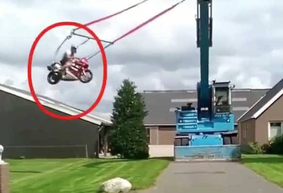 Watch: Rider creates a swing for his motorcycle