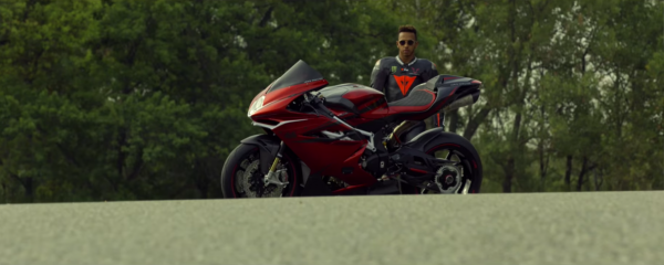 Lewis Hamilton rides motorcycle on track for the first time