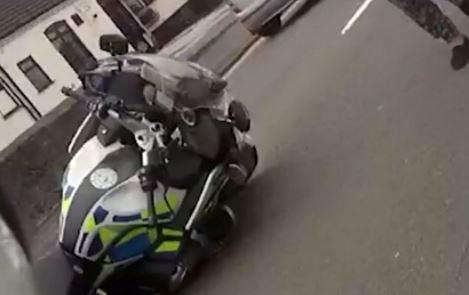 Teen Rams police motorcycle in stolen car