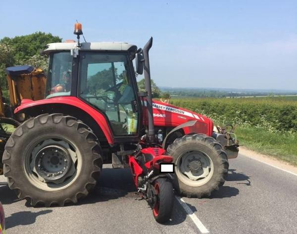 Biker embeds motorcycle in tractor, escapes with minor injuries