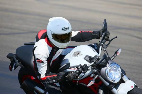 A white motorcycle helmet
